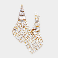 Crystal Rhinestone Pave Net Clip on Earrings
