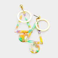 Geo Metal Hoop Celluloid Acetate Triangle Round Disc Earrings