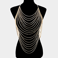 Draped Crystal Rhinestone Pave Bib Body Chain Necklace