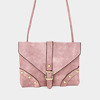 Belt Detail Faux Leather Crossbody Bag
