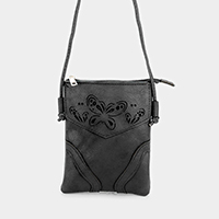 Cut Out Butterfly Faux Leather Crossbody Bag