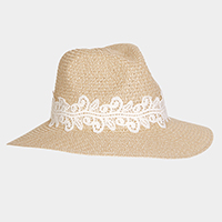 Lace Trim Straw Sun Hat
