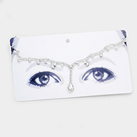 Rhinestone Pave Crystal Teardrop Accented Head Chain