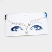 Rhinestone Pave Floral Crystal Teardrop Accented Head Chain