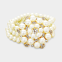 Pearl Triple Strand Flower Centered Stretch Bracelet