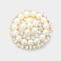 Stone Pearl Cluster Circle Pin Brooch