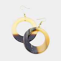 Horn Cut Out Circle Earrings