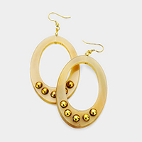 Metal Ball Detail Cut Out Oval Horn Earrings