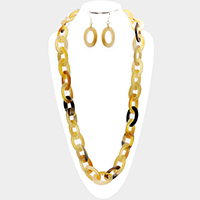Oval Horn Link Long Necklace