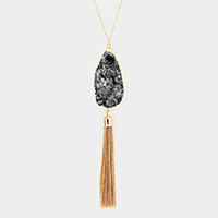 Genuine Druzy Drop Chain Tassel Pendant Long Necklace