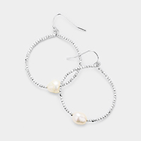 Freshwater Pearl Centered Metal Beaded Hoop Dangle Earrings
