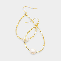 Freshwater Pearl Centered Metal Beaded Teardrop Hoop Earrings