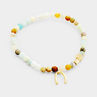Semi Precious Beaded Wishbone Stretch Bracelet
