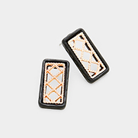 Two Tone Cut Out Rectangle Stud Earrings