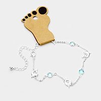 Round Bead Metal Dolphin Station Anklet