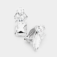 Crystal Cube Rectangle Stone Accented Clip on Earrings