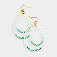 Faceted Beaded Layered Double Teardrop Earrings
