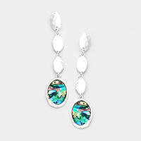 Hammered Triple Oval Metal Oval Abalone Link Earrings
