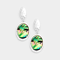 Hammered Oval Metal Oval Abalone Dangle Earrings