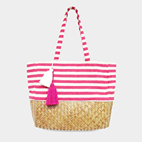 Stripe Straw Bottom Double Tassel Beach Shoulder Bag
