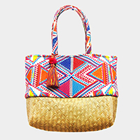 Aztec Pattern Straw Bottom Tassel Beach Shoulder Bag