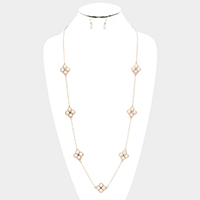Pearl Clover Station Long Necklace