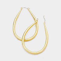 14K Gold Filled Textured Teardrop Hoop Pin Catch Earrings