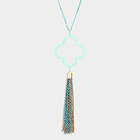 Colored Clover Metal Chain Tassel Pendant Long Necklace