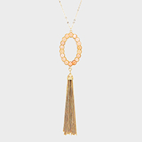 Semi Precious Cluster Oval Hoop Drop Chain Tassel Necklace