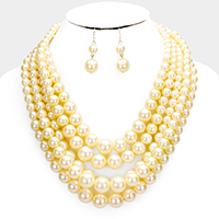 Multi-strand pearl necklace