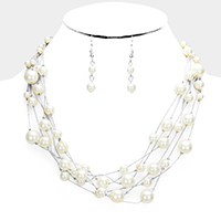 Multi Strand Pearl Bib Necklace