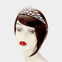 Crystal Rhinestone Pave Crystal Leaf Pageant Queen Tiara