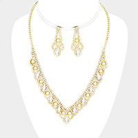 Rhinestone Pave Crystal Circle Teardrop V Collar Necklace
