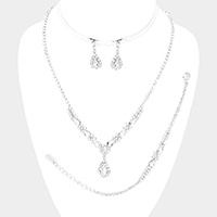 3PCS Rhinestone Pave Crystal Teardrop Necklace Jewelry Set