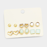 6Pairs Mixed Stone Heart Square Stud Earrings