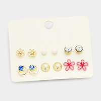 6Pairs Mixed Stone Flower Stud Earrings