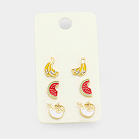 3Pairs Mixed Banana Watermelon Cocktail Stud Earrings