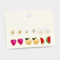 6Pairs Mixed Strawberry Apple Watermelon Stud Earrings