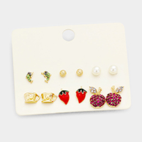 6Pairs Mixed Dolphin Cup Strawberry Apple Stud Earrings