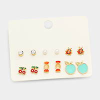 6Pairs Mixed Cherry Candy Apple Ladybug Stud Earrings