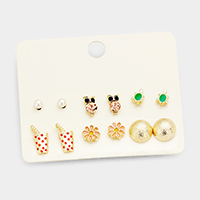 6Pairs Mixed Flower Turtle Pearl Stud Earrings