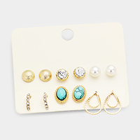 6Pairs Mixed Pearl Turquoise Stud Earrings