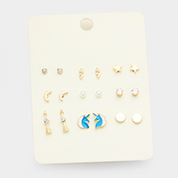 9Pairs Mixed Unicorn Arrow Moon Star Stud Earrings