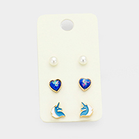 3Pairs Mixed Pearl Heart Unicorn Stud Earrings