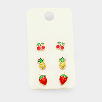 3Pairs Mixed Cherry Pineapple Strawberry Stud Earrings
