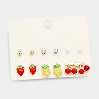 6Pairs Mixed Strawberry Pineapple Cherry Stud Earrings