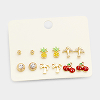 6Pairs Mixed Pineapple Palm Tree Cherry Stud Earrings