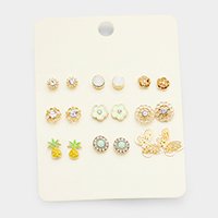 9Pairs Mixed Flower Butterfly Pineapple Stud Earrings