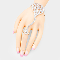 Stone Pave Crystal Teardrop Net Hand Chain Evening Bracelet