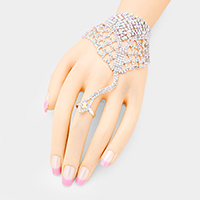 Crystal Rhinestone Pave Net Hand Chain Evening Bracelet